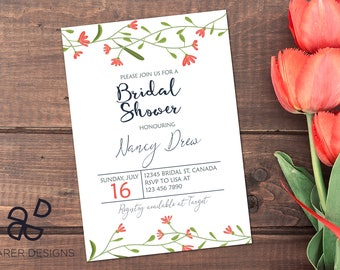 Bridal Shower Invitation, Printable Bridal Shower Invitation, Bridal Shower Digital Invite, Boho Bridal Shower Invite, Floral Invitation