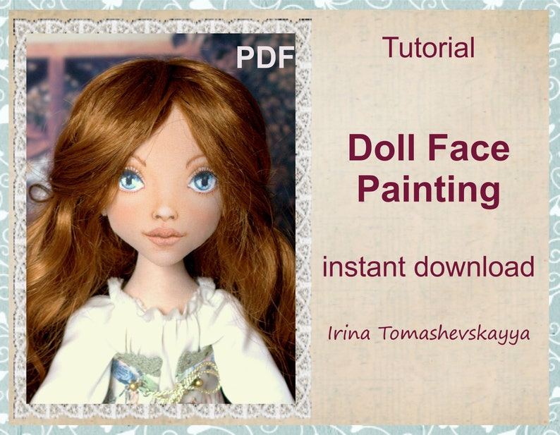 Doll Face Painting PDF pattern. OOAK Cloth doll pdf tutorial. image 0