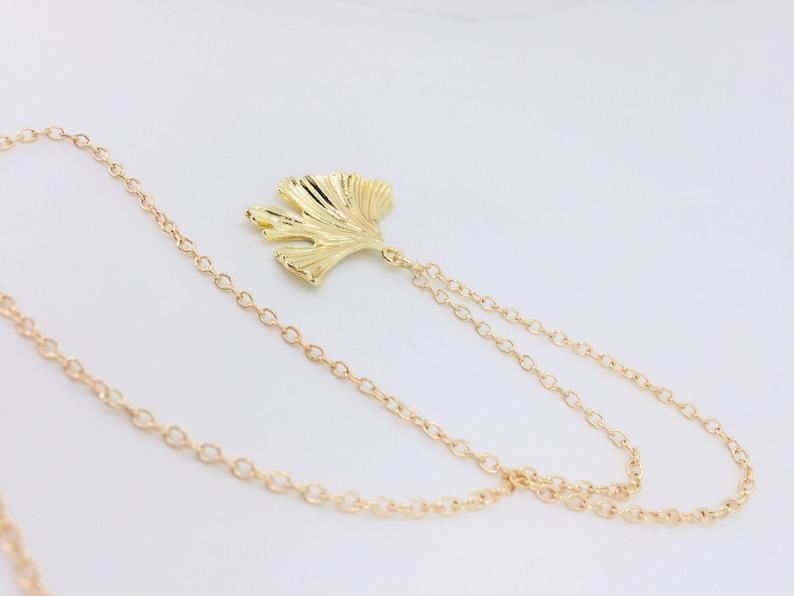 Pendant gold leaf necklace gold