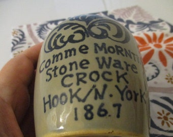 Commemorative Stoneware Crock Pot Jug Hook Brooklyn New York 1867