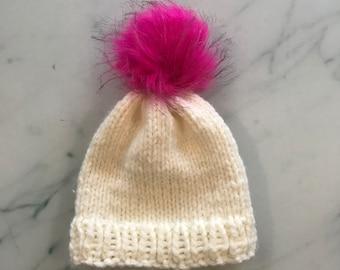 572939c1593 Kids Cream   Pink Pom Pom Hat