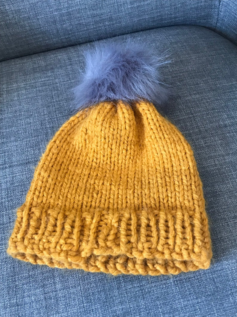 d13876c6b13 Kids Knitted Yellow Pom Pom Hat