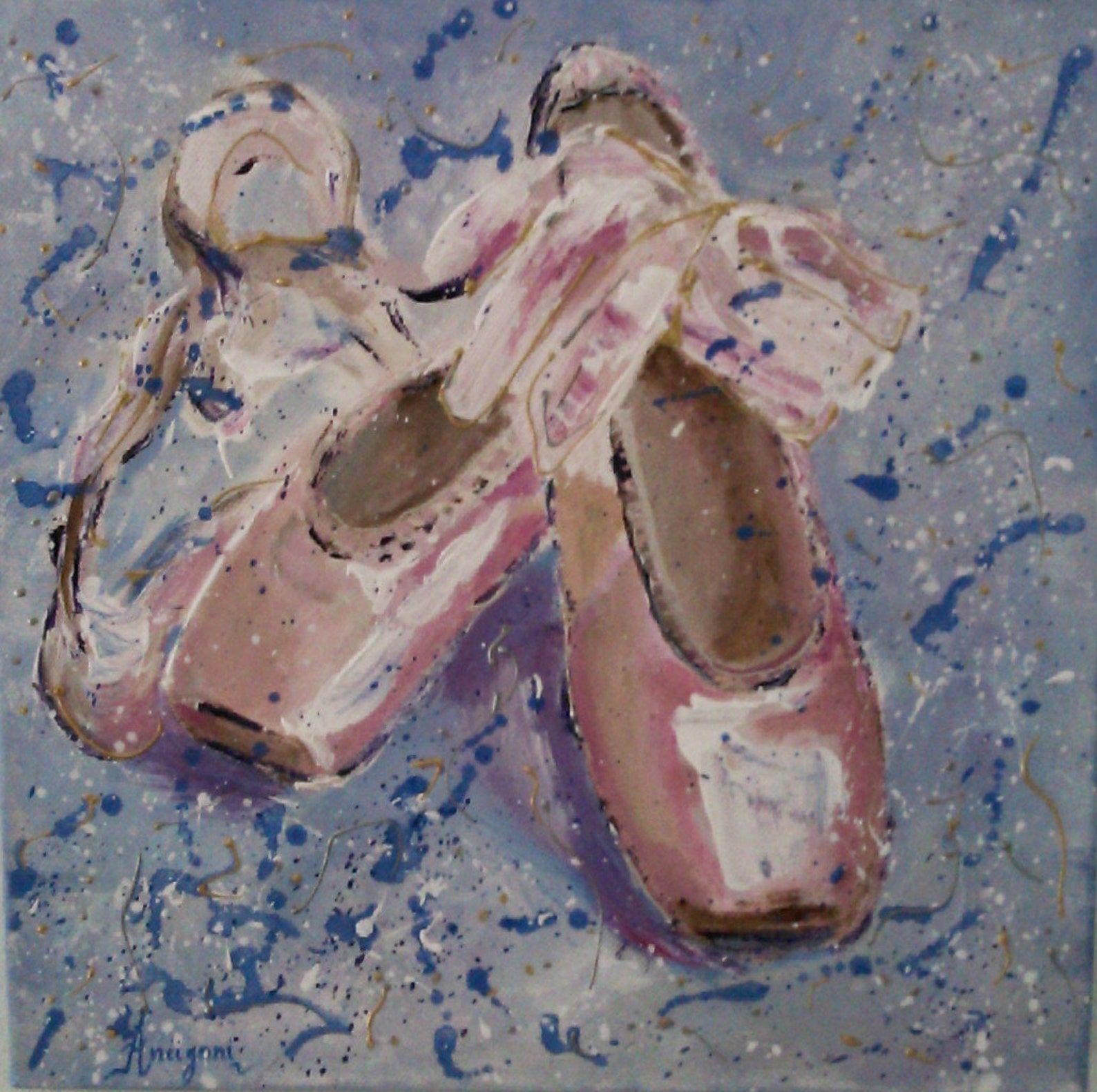 original acrylic painting,ballet shoes,ballet art,12x12,square,small,pointe shoes,girls nursery wall art,baby girl nursery wall