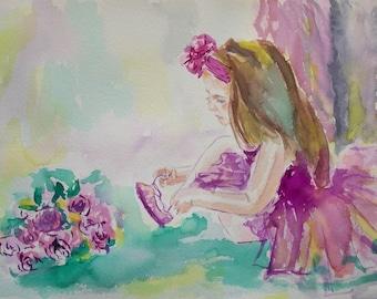 Original little ballerina painting,ballerina watercolor,ballet watercolor,pink ballerina,wall decor for baby girls nursery room,ballerina