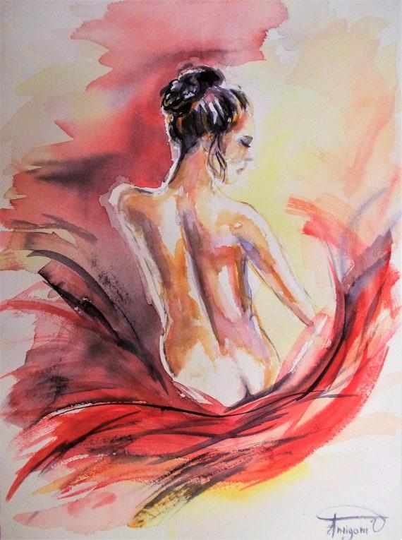 Peinture Nu Peinture Aquarelle Nu Femme Dos Nu Peinture Etsy