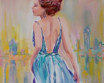 Original woman painting,oil painting,woman back painting,woman with long dress,blue dress,figurative painting,blue and yellow,woman in city