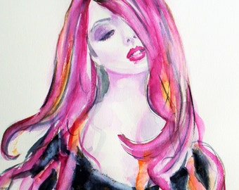 SALE- Original fashion painting,fashion watercolor,pink and black watercolor,pink watercolor,pink fashion watercolor,woman watercolor,pink