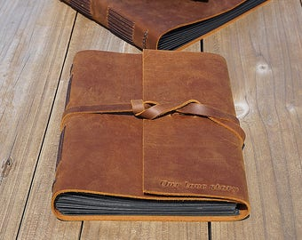 Leather guest book, Rustic guest book, Wedding guest book, Custom guest book, White paper, black paper, kraft paper, wedding photo album