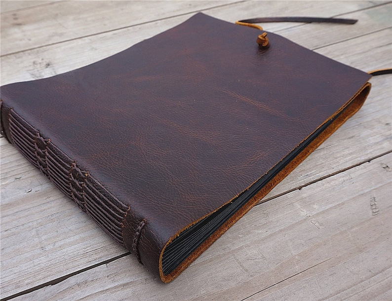 Handmade Leather Bound Album Custom Leather Album Personalized Photo Album Leather Scrapbook Gift For Her Gift For Mom Free Stamp