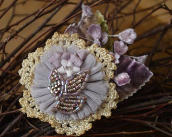 Vintage Hair Clip, Purple flower Barrette, Crochet Lace Hair Accessory, Vintage Flower Hair Accessories, Flower Girl Hair Clip, Bridal Clip