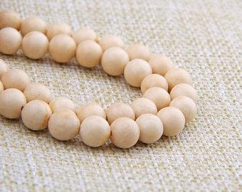 15 strand of 6mm round ball Natural bone white stone beads Fossil Stone #FOSS-001