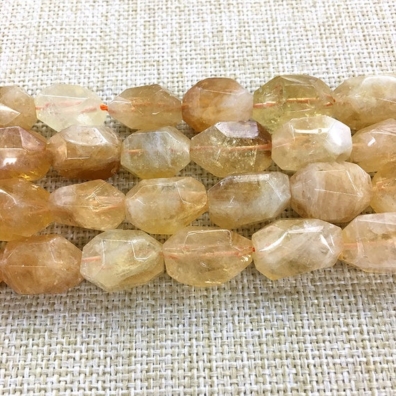 Faceted Citrine Stone Loose Beads 15.5 inch Full Strand 15x20mm Citrine Stone Beads Natural Crystal Beads Gemstone Beads