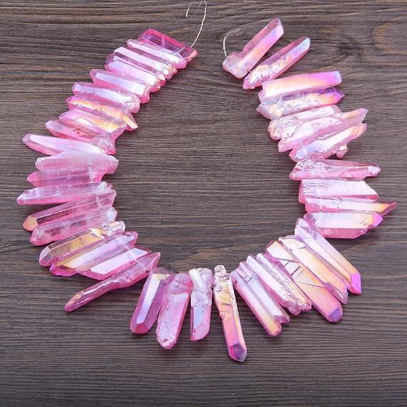 Approx 45pcs Rough Rainbow Blue Raw Quartz Spike Beads Top Drill Graduated Crystals Stick Beads Craft Pendants Bulk Jewelry 5-10mmx30-40mm