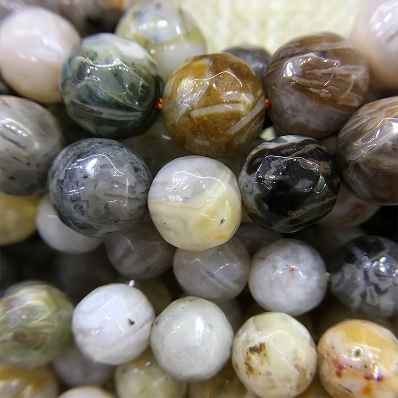 Faceted Bamboo Agate Beads Round Agate Beads Gemstone Beads 6mm 8mm 10mm Natural Stone Loose Beads Wholesale  15.5 Strand