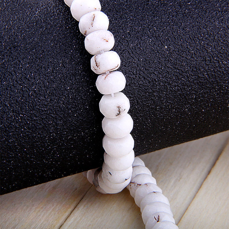 Faceted Jade Beads 15 inch Strand size 2x3mm2x4mm4x6mm5x8mm White Rondelle Jade Beads Gemstone Jade Beads