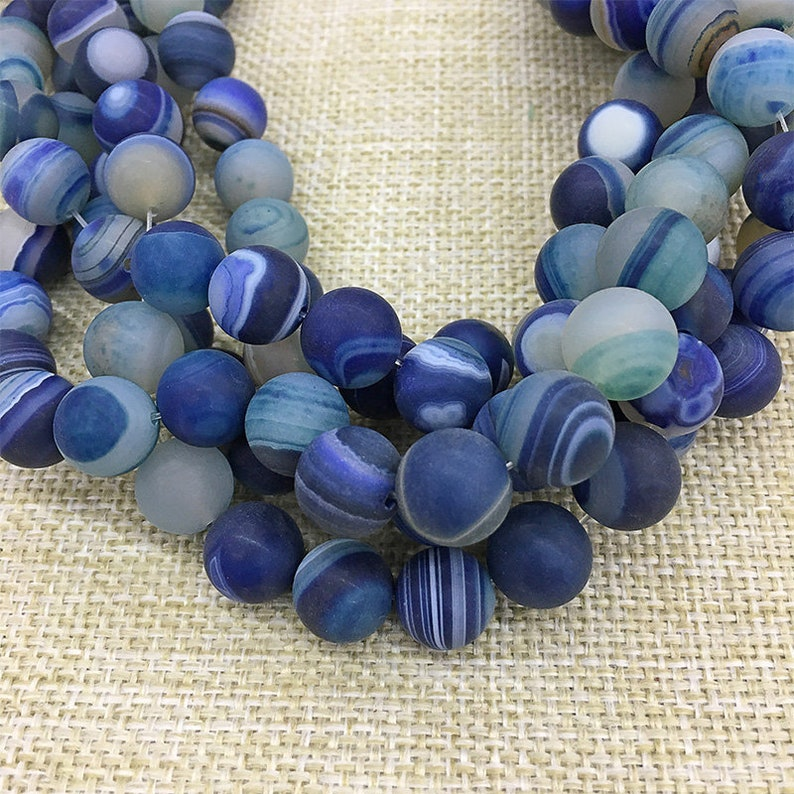 Banded Agate Beads 12mm Natural Blue Agate Beads Gemstone Beads Supply 15.5 Full Strand Matte Agate Beads Frost Round Agate Beads