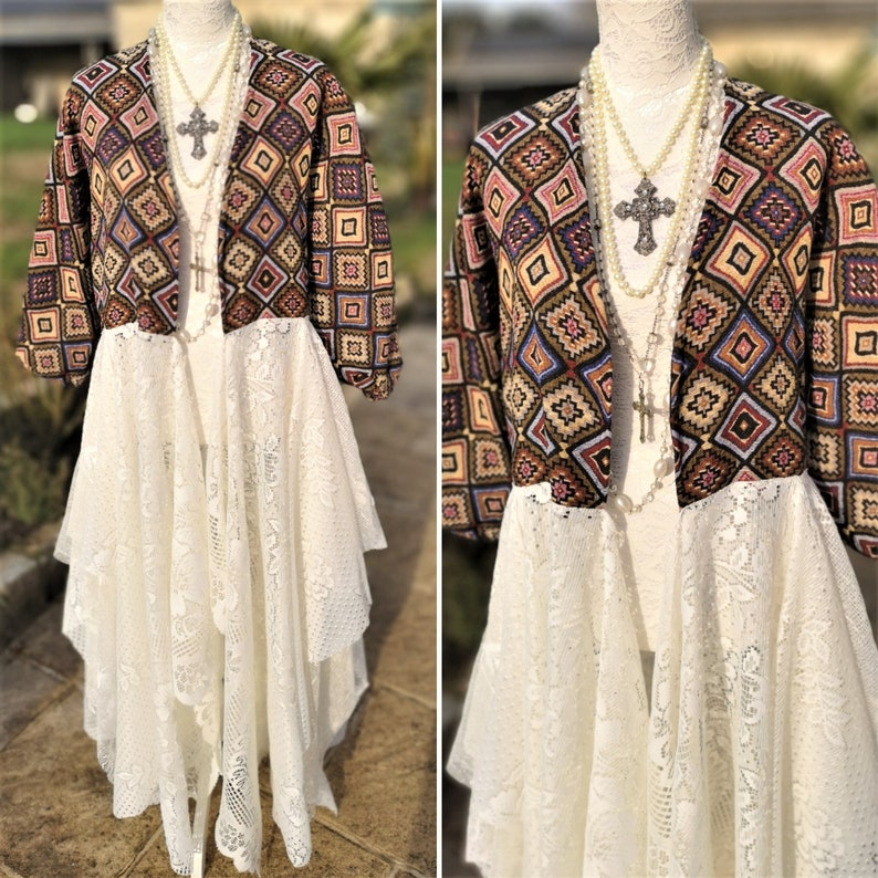 Festival clothing. Hippie duster puffed balloon sleeves coat Stevie Nicks Style Bohemian Ethnic kimono upholstery fabric and vintage lace
