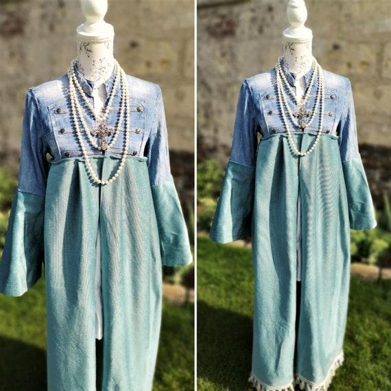Stevie Nicks plaid duster Maxi shirt maxi dress denim shirt Boho chic denim duster shirt dress vintage style gypsy festival clothing stevie