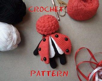 Crochet PATTERN: Ladybird Amigurumi Doll. Crochet Ladybug Doll