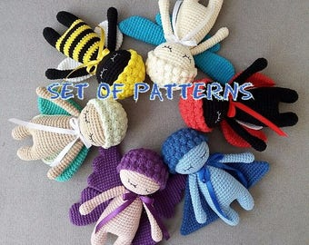 Set of PDF Crochet PATTERNS: Insect Dolls Nelly Handmade Book, Crochet Tutorial, How to Crochet Bug Doll, Knitted Toy Pattern