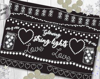 String Lights Clipart Fairy Vectors Mason Jars Wedding