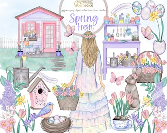 Spring Fresh Clipart - 39 Pastel spring clip art - watercolor Easter graphics - gardening clipart- bunny graphics - fashion clipart - png