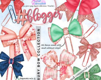 Planner bow clipart - bows clip art Watercolor Rose gold Ribbon Birthday Planner stickers Glitter Pink Green Blogger png Commercial use