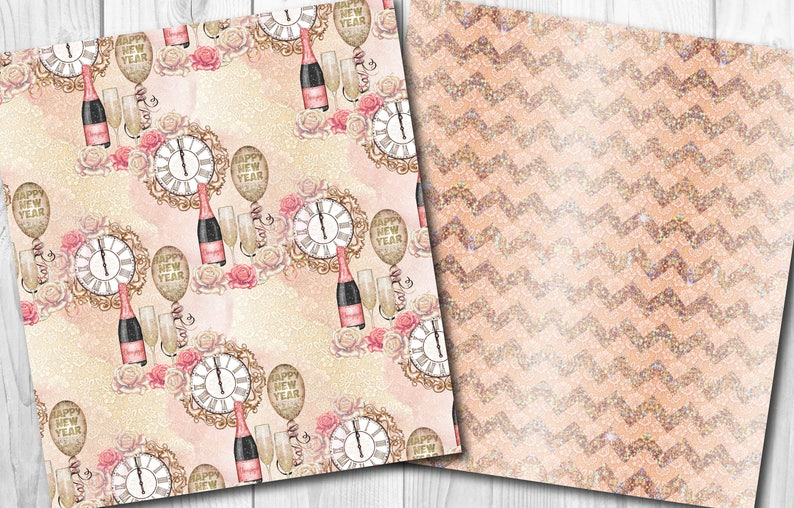 New years eve digital paper Party seamless patterns Rose gold paper pack Fashion glitter backgrounds Scrapbook Paper Glamorous Glam