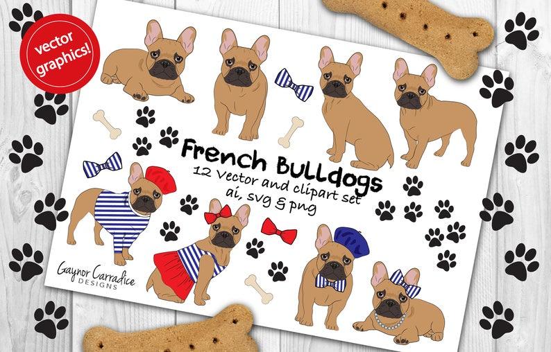 French Bulldog Clipart French Bulldog Vectors Frenchie Etsy