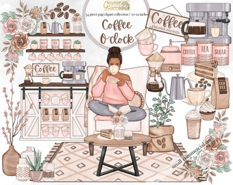 Coffee clipart - 54 piece coffee planner clipart - farmhouse cafe clip art - coffee fashion clipart - cozy spring clipart -  home clipart