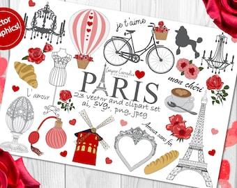 Paris clipart, Paris Clip art, France clipart, love clipart, Paris vectors, valentine clipart, engagement clipart, romantic clipart