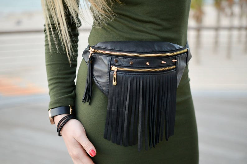 9658f47be47 Handmade black leather tassel waist bag. Fringe leather fanny | Etsy