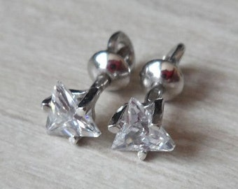 Silver stud earrings studs Pyramid Chrystals