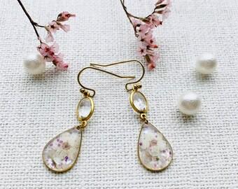 Resin Art Earrings Queen Anne\u2019s Lace Drop earrings Pressed Dried Flowers Gardenia Flower Earrings