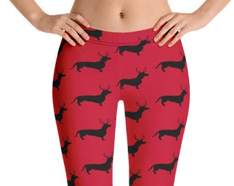 Doxie Dachshund Dogs Yoga Leggings Low Rise