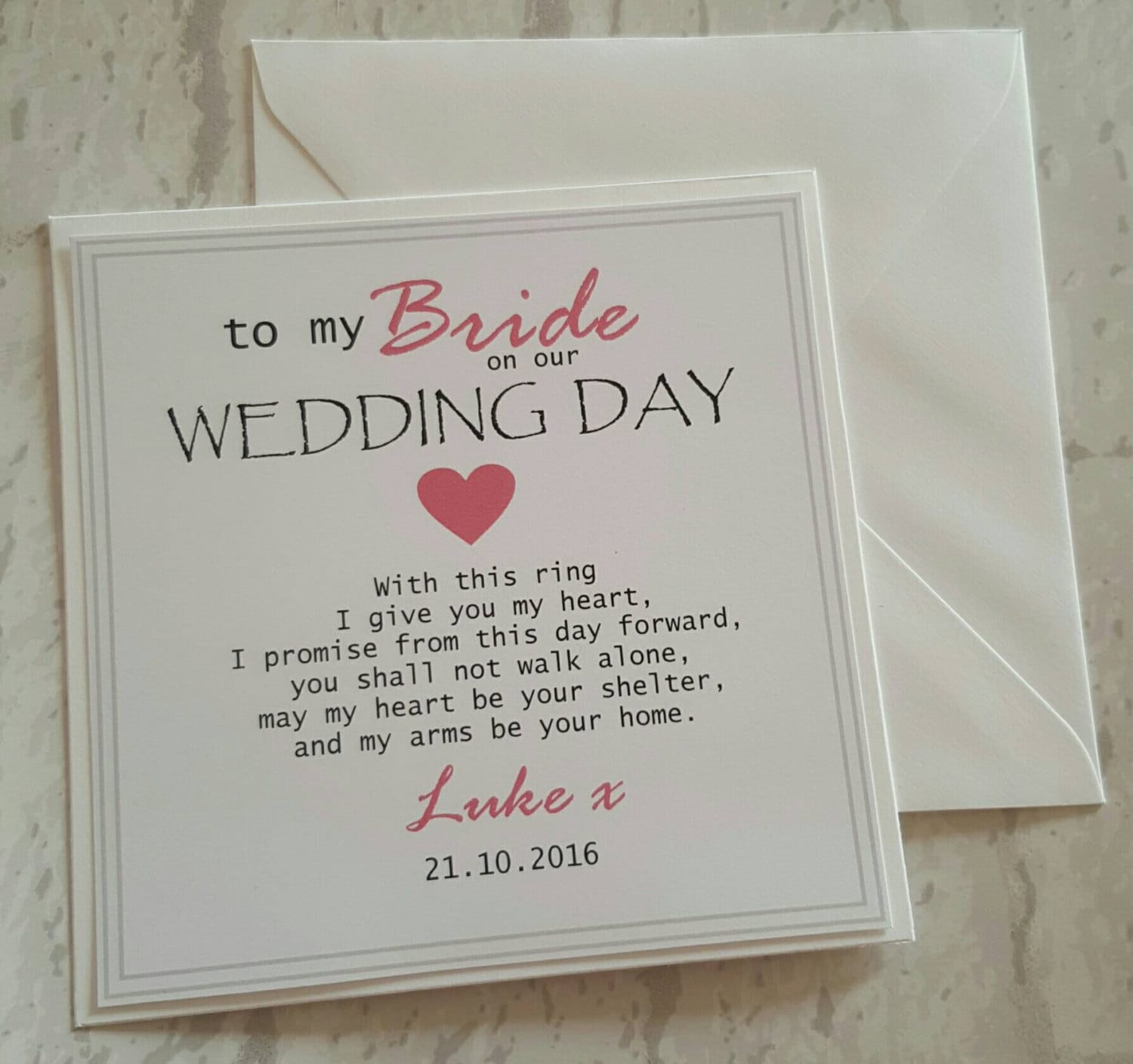 Bride Personalised Wedding Card To My Bride Future Wife On ...