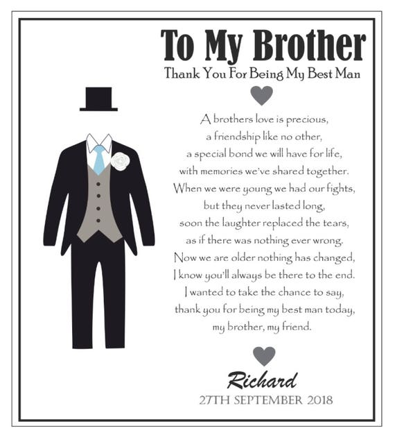 Wedding Gift Ideas For Brother: Brother Best Man Wedding Card Personalised Best Man Card