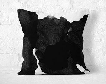 Black Ink Pillow, Watercolor Pillow, Black Throw Pillow, Abstract Pillow, Black Watercolor Pillow, Modern Throw Pillow, Black White Pillow