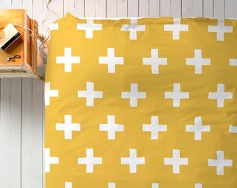 Mustard Bedding, Scandinavian Bedding, Swiss Cross Decor, Doona Cover, Duvet Cover Queen, King Duvet Cover Set, Twin Duvet Cover, Doona