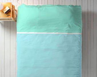 Blue Mint Duvet, Color Block Duvet, Queen Duvet, King Duvet, Twin Duvet, Minimal Bedroom Decor, Minimal Duvet Cover, Light Blue Duvet, Aqua