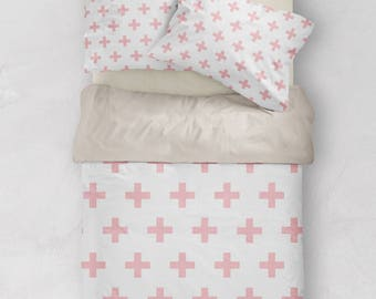 Pink Duvet Cover, Scandinavian Bedding, Swiss Cross Decor, Doona Cover, Duvet Cover Queen, King Duvet Cover Set, Twin Duvet Cover, Doona