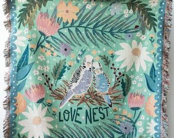 Love Nest Throw Blanket: Woven Cotton Throw for Sofa, Cute Animals, Colorful Decor, Kids Teen Bedroom, Budgies Budgerigar birds, Flowers