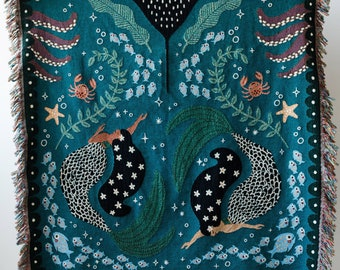 Mermaids Throw Blanket: Woven Cotton Throw for Sofa, Cute Ocean Animals, Manta Ray Puffer Fish, Sea Beach Decor