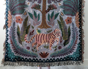 Jungle Tiger Throw Blanket: Woven Cotton Throw for Sofa, Cute Animals, Colorful Purple Decor, Kids Teen Bedroom, Plants Leaves Flowers