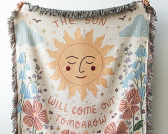 Sun Throw Blanket: Woven Cotton Throw for Sofa, Flowers Floral Blanket, Positive Self Love Motivational, Colorful Boho Decor, Pastel Pink