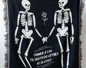Personalized Skeleton Blanket: Til Death Do Us Part Woven Throw, Spooky Skull Decor, Wedding or Anniversary Present, Halloween Goth Wedding