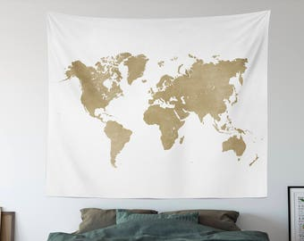 Large world map etsy gold map tapestry worldmap travel tapestry world map kids room wall tapestry hippie dorm room tapestries large world map art gumiabroncs Image collections