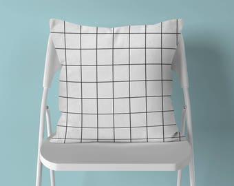 Grid Throw Pillow, Geometric Pillow, Black White Pillow, Grid Pillow, Modern Throw Pillow, Minimalist Pillow, Minimalist Decor, Grid Cushion