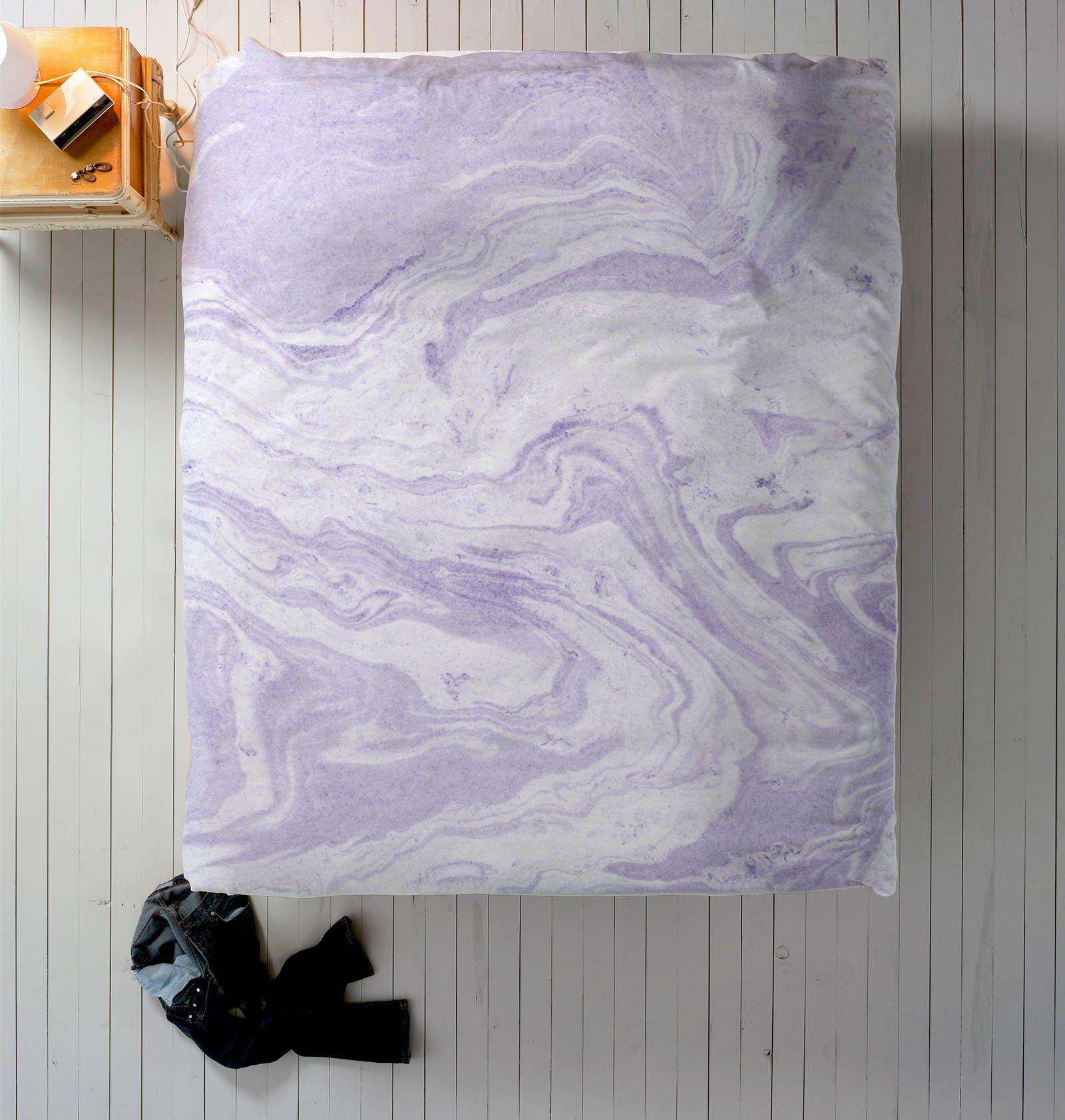 housse de couette lavande literie en marbre pour le d cor etsy. Black Bedroom Furniture Sets. Home Design Ideas