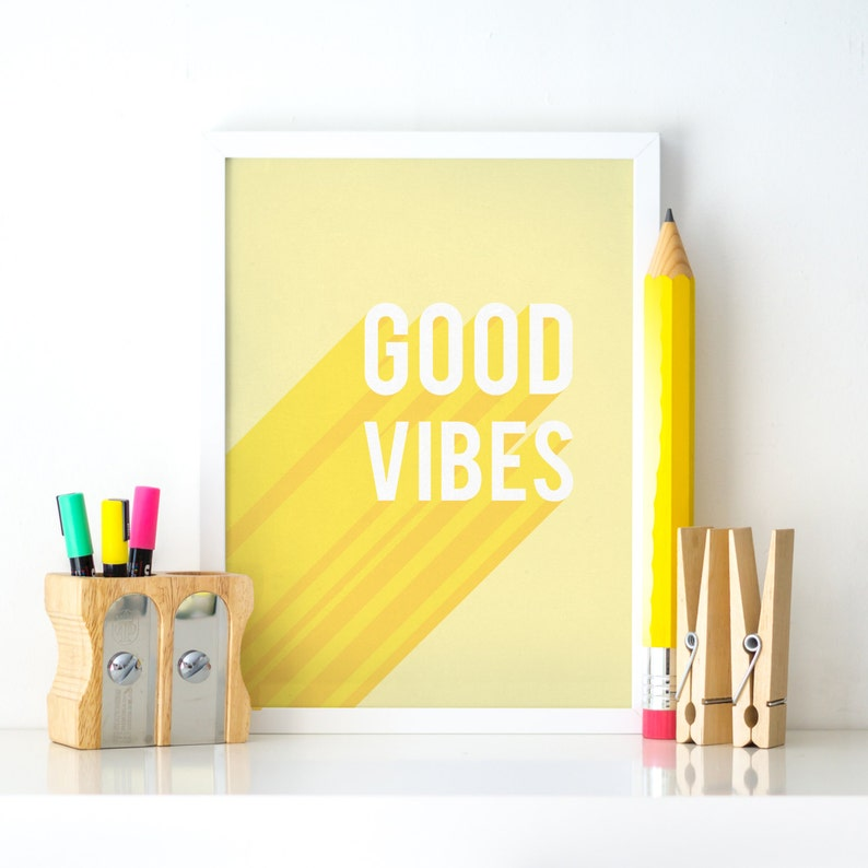Good vibes printable good vibes download yellow printable | etsy.